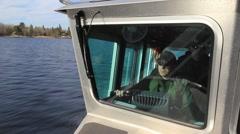 Men driving speedboat. (HD) m Stock Footage