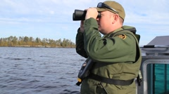 US Customs Border Patrol Boat Searching for Illegals (HD) c Stock Footage