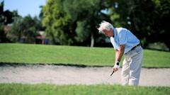 Senior Gentleman Playing Golf Stock Footage