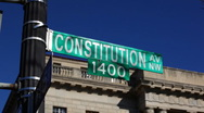 Stock Video Footage of Constitution Ave Sign 01 HD