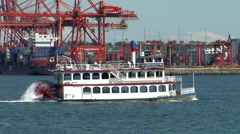 Paddleboat on Vancouver harbour Stock Footage
