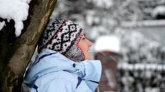 Beautiful woman enjoying winter day   Stock Footage