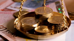 Seamless loop of Euro notes and coins Stock Footage