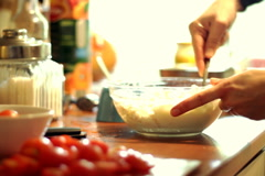 Preparing cottage cheese Stock Footage