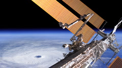 Hurricane From the International Space Station - stock footage