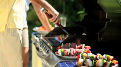Grilling Fresh Healthy Barbeque Food - stock footage
