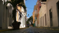 Puerto Rico - Cobblestone Street - brick road to Cathedral in Old San Juan Stock Footage