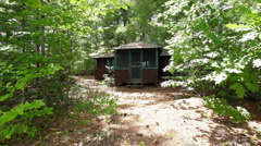 Cabin in woods Northeast_1 Stock Footage