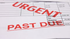 Debt and recession.  Past due and overdue invoices for urgent payment.  Stock Footage
