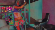 Night club scenes - hot gogo dancer works the pole - with effects - part 2 Stock Footage