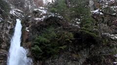 Winter Scene, High Mountains, Waterfall, Winter Season Stock Footage
