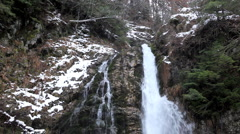 Winter Scene, High Mountains, Waterfall, Winter Season Stock Footage