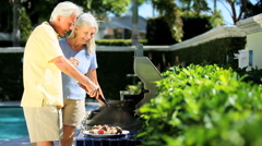 Seniors Healthy Eating Barbeque Stock Footage