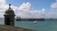 Stock Video Footage of Puerto Rico - HD Oil Fuel Tanker leaves Caribbean port 1