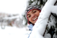 Happy woman face in winter time Stock Footage