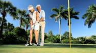 Senior Couple Practicing Golf   Stock Footage