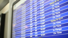 Airport flight schedule monitor with on time, landed, and delayed displayed Stock Footage