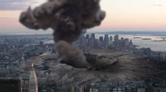 Asteroid/Meteor Impact on Large City Stock Footage