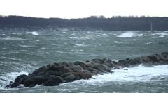 Winter Storm Baltic Sea / Kiel / Germany 1 Stock Footage