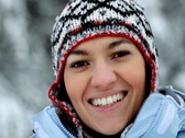 Happy smiling woman in woolen cap portrait in winter time Stock Footage
