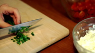 Cutting chive Stock Footage