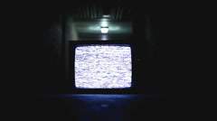 Old television on in Hallway Stock Footage