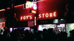 Exterior Foy's Halloween shop at night - stock footage