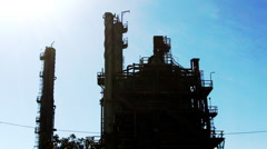 Oil Petroleum Refining Tower Silohuette 3 Stock Footage