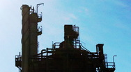 Stock Video Footage of Top of Oil Petroleum Refining Tower