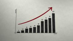 PAPER CHART PROFIT ARROW Stock Footage