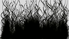 Black long grass ink smoke seaweed pollution oil cancer disease fire ghosts. Stock Footage