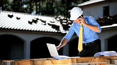 Male Architect Working with Technology Stock Footage