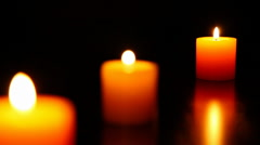 Three candle burning  7 HD 1080p Stock Footage