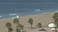 Stock Video Footage of Santa Monica beach, w/ life guard trucks
