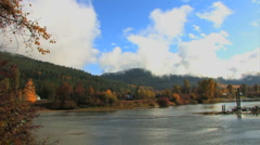River in Fall Pan Stock Footage