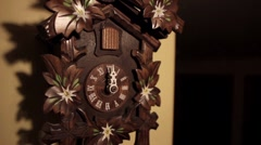 Ticking Wood Cuckoo Clock twelve O'Clock Chime Bird Stock Footage