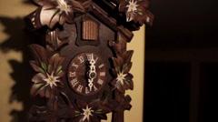 Ticking Wood Cuckoo Clock six O'Clock Chime Bird Stock Footage
