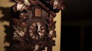 Ticking Wood Cuckoo Clock five O'Clock Chime Bird Stock Footage