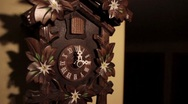 Stock Video Footage of Ticking Wood Cuckoo Clock three O'Clock Chime Bird