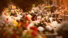 Graveyard, holiday of the deceased. Stock Footage