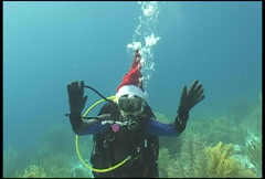 Diver Christmass underwater diving video Stock Footage