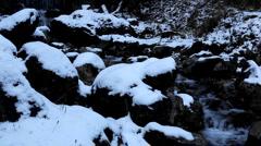 Winter 0035 High mountains, Creek, Winter Season, Snow, Little River, Spring Stock Footage