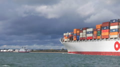 Container ship from yacht HD Stock Footage