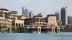 Dubai, fountain, buildings Stock Footage