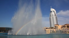 Rainbow fountains near Burj Dubai Lake Hotel in Dubai, UAE. Stock Footage