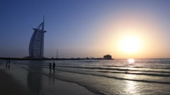Stock Video Footage of The Burj Al Arab, five-star hotel in Dubai, United Arab Emirates.