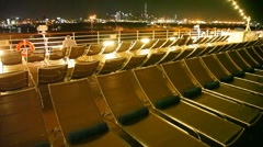 Chairs standing on deck of ship Stock Footage