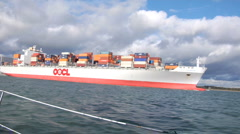 Container ship from yacht 06 Stock Footage
