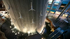 Waterfall inside Dubai Mall in Dubai, UAE. Stock Footage