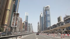 General view on Sheikh zayed road and skyscrapers in Dubai, UAE Stock Footage